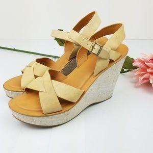 Kork Ease slingback wedge Vachetta sandals size 10